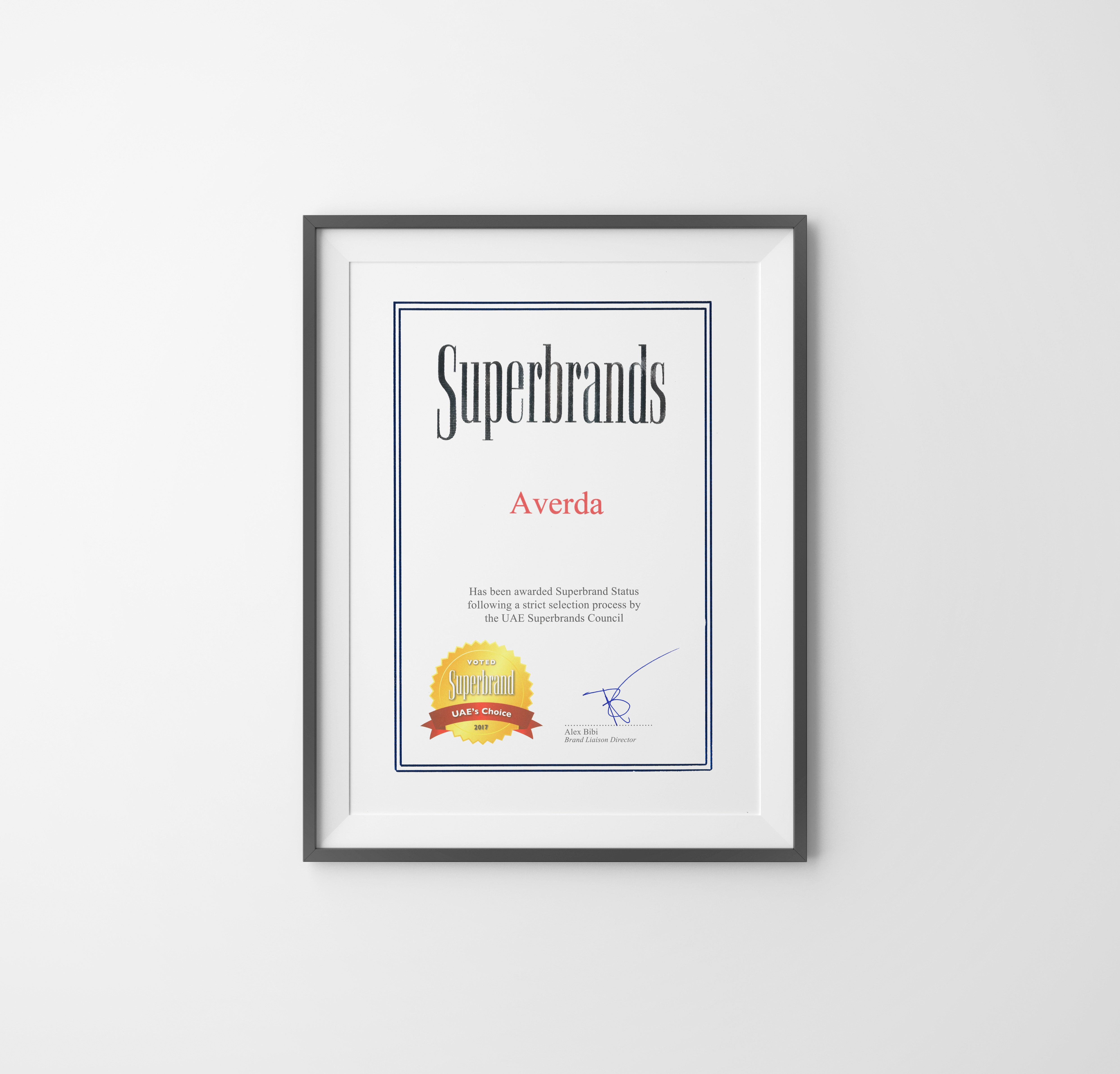 Superbrands certificate handing on a wall